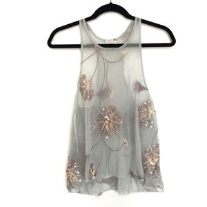 [FREEPEOPLE] Sequined sheer crew neck tank top M